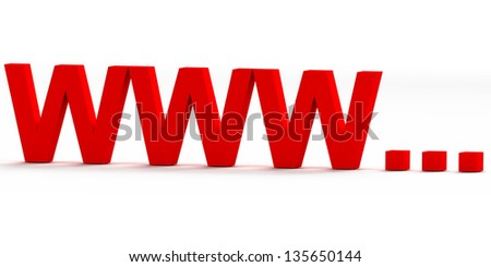 red www internet  icon isolated on white background - stock photo