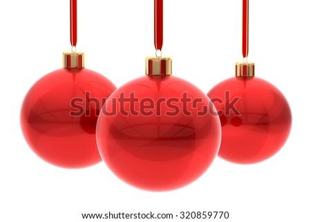 Red Xmas balls on white - stock photo