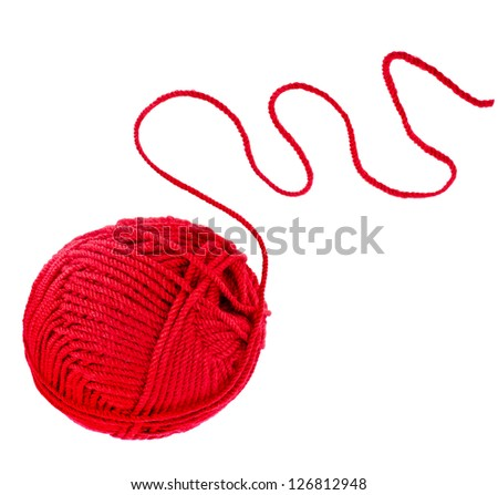 red yarn thread isolated on white background