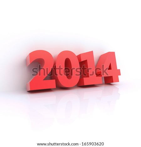 Red 2014 year - 3D computer generated ilustration - clipping path