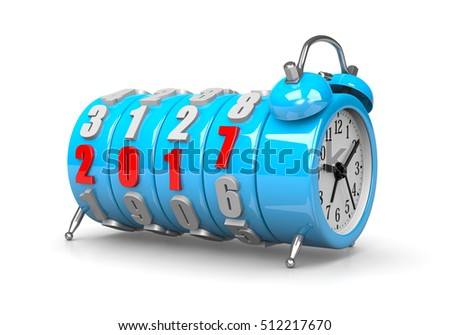 Red 2017 Year Number Text on Blue Alarm Clock on White Background 3D Illustration. It's Time For Concept