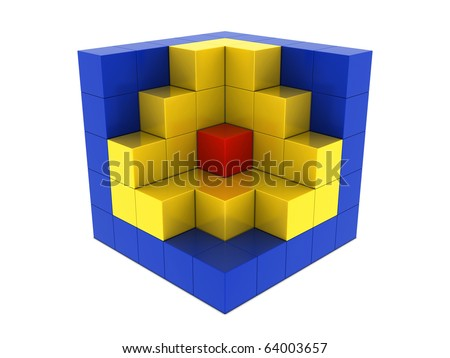 Red, yellow and blue boxes isolated on white background