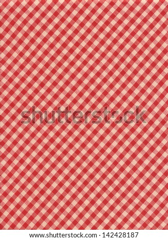 Red yellow and blue plaid textile fabric background.