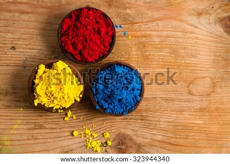 Red, yellow and blue (RYB) form the primary color triad in artists' color wheel.  Other colours can be created by mixing primary colours. - stock photo