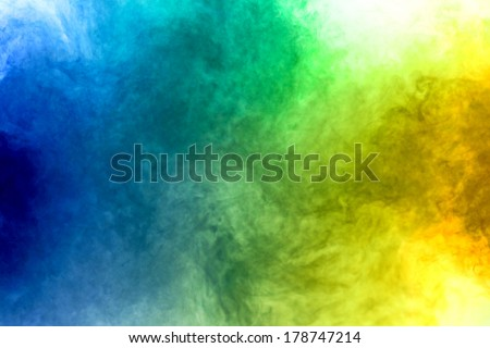 Red, Yellow and blue smoke  on white background - stock photo