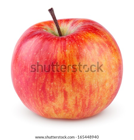 Red yellow apple isolated on white with clipping path - stock photo