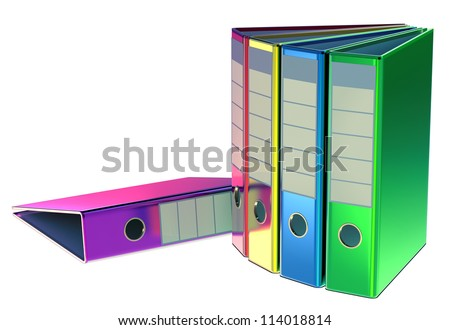 red, yellow, blue, green and magenta folders stores important documents on abstract background - stock photo