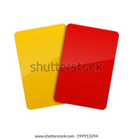red yellow card - stock photo