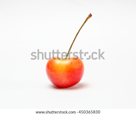 Red yellow Cherry Fruit  ripe juicy fresh on white background