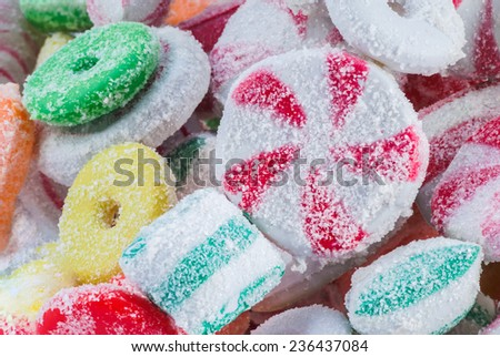 Red, Yellow, Green and White Christmas Hard Candy - stock photo
