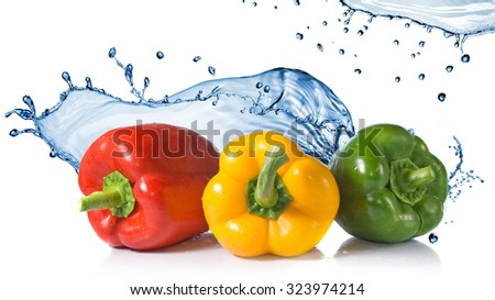 red, yellow, green pepper with water splash isolated on white. Header for website - stock photo