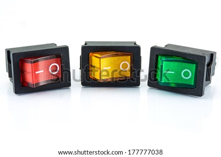 red yellow green power button switch isolated on the white background - stock photo