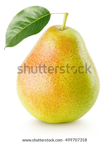 Red yellow pear fruit with leaf isolated on white with clipping path