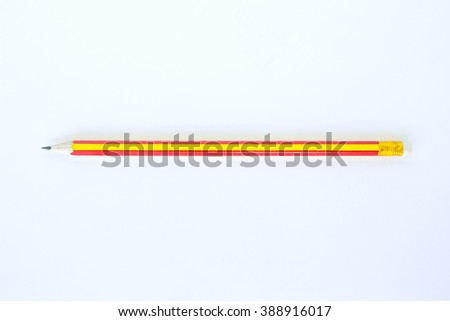 red, yellow pencil tool art on white background