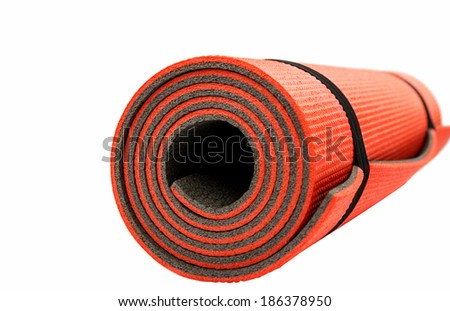 Red yoga mat nice for exercise at home or gym