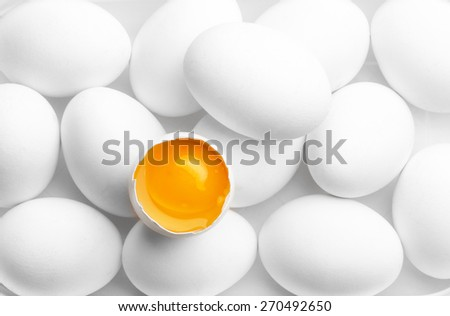 red yolk with white eggs - stock photo