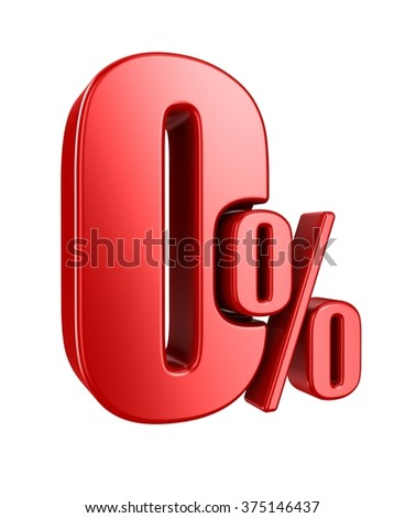 Red zero percent, isolated on white background.