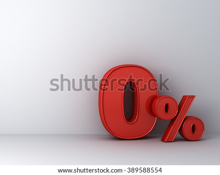 Red zero percent or 0 % over white wall background with shadow abstract concept