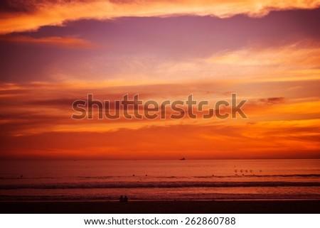 Reddish Beach Sunset. Pacific Ocean Scenic Sunset at the Beach. - stock photo