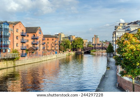 Redeveloped Warehouses along the River in Leeds, UK - stock photo