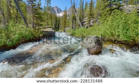 Redfish Lake Creek, Sawtooth National Recreation Area, near Stanley, Idaho. - stock photo