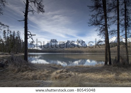Redfish Lake Mountain Reflection Sawtooth National Recreation Area - stock photo
