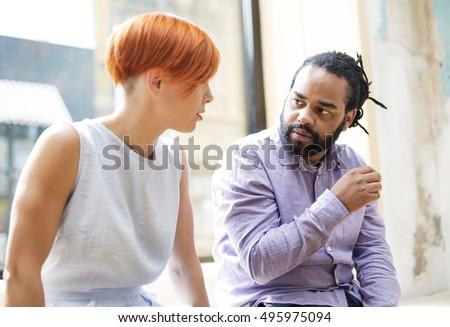 Two Men Living Room Talking Stock Photo 13861015