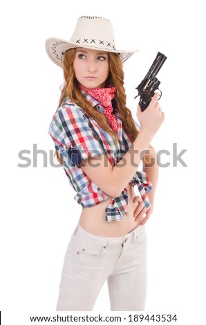 Redhead aiming  cowgirl with gun  isolated on white - stock photo