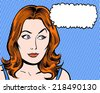 redhead comic pop art character looking sideways with thought bubble - stock