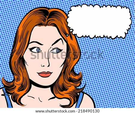 redhead comic pop art character looking sideways with thought bubble - stock photo