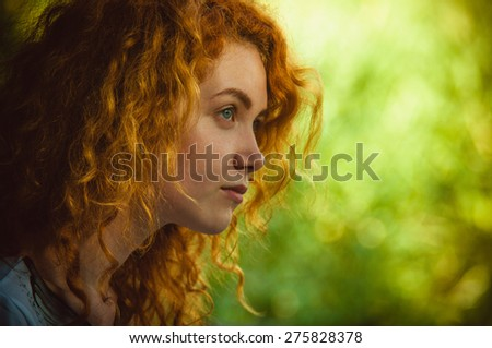 redhead girl - stock photo
