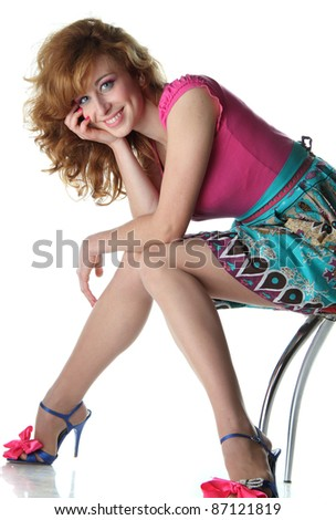 redhead girl beautiful dress on a white background - stock photo