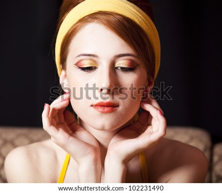 Redhead girl. 70s style. - stock photo