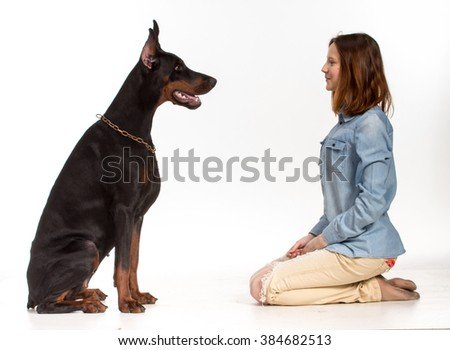 Redhead girl sitting on her knees in front of a large black doberman  dog, isolated on white