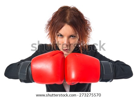 Redhead girl with boxing gloves  - stock photo
