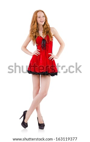 Redhead in red dress on white background