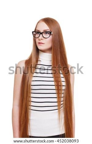 stylish eyeglasses zzlf  Redhead long-haired woman in eyeglasses Young red ginger stylish girl in  striped blouse