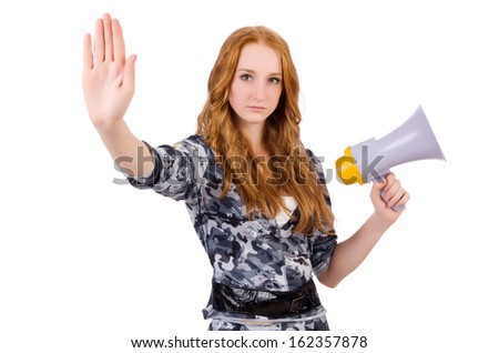 Redhead soldier with loudspeaker on white - stock photo