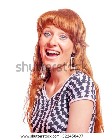 Redhead woman excited open mouth isolated on white
