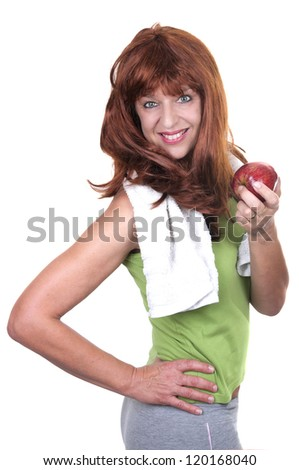redhead woman sports isolated - stock photo