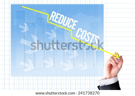 Reduce costs concept with businessman hand draw a graph - stock photo