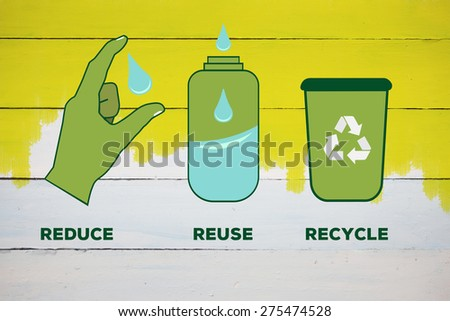 Reduce reuse recycle against yellow paint on fence - stock photo