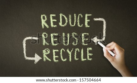 Reduce, Reuse, Recycle Chalk Drawing - stock photo
