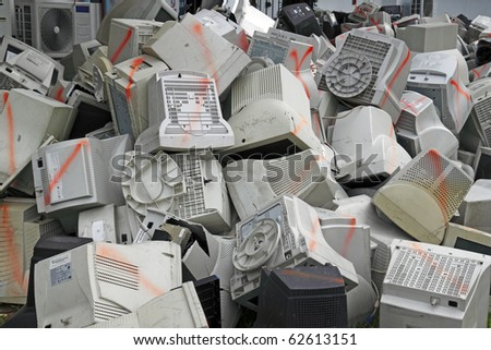 reduce, reuse, recycle of discarded plastic computer screen monitor at the open mining area of a recycling plant. - stock photo
