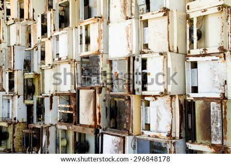 reduce, reuse, recycle of refrigerators area of a recycling plant. - stock photo