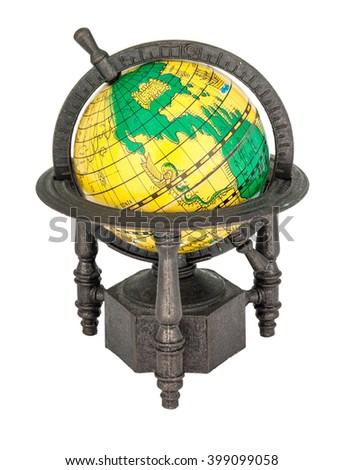 reduced model of the globe isolated on white background - stock photo