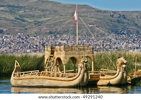 Reed boat at Floating Islands near Puno, Peru - stock photo