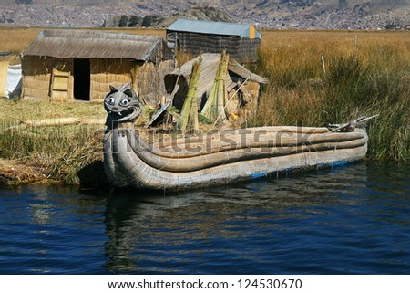 Reed boat at Titicaca Lake, Peru - stock photo