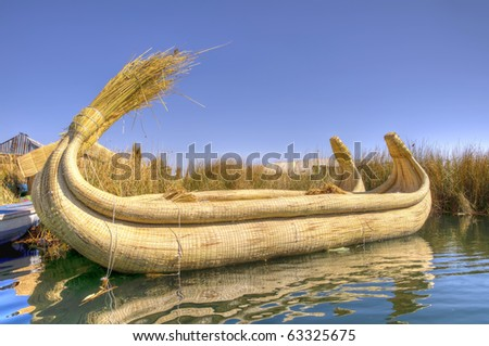 Reed Boat in Titicaca Lake, Peru - stock photo