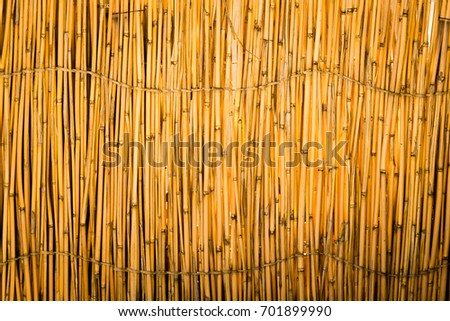 Reed tied in a fence as a background